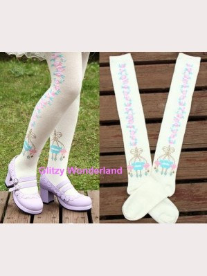 White floral lolita socks