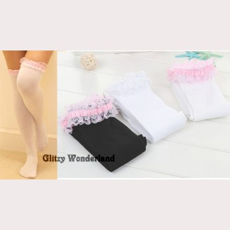 Lace Trim Sweet or Classic Lolita Style Over Knee Socks Otks