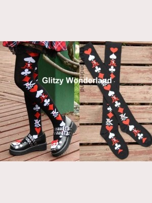 Black poker card lolita socks