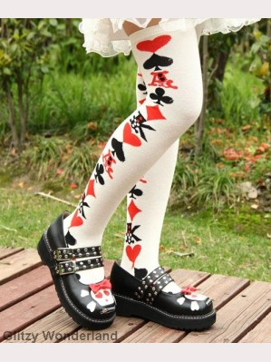 White poker card lolita socks
