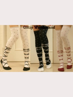Sweet Lolita Style Ballet Shoes Print Over Knee Socks Otks