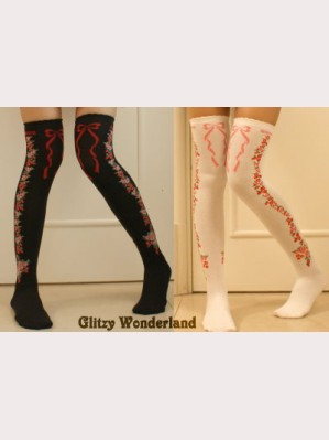 Flower over knee lolita socks