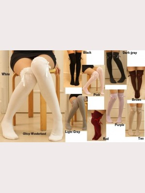 Ribbon over knee socks 9 colors