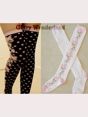 Strawberry and dots sweet lolita style over knee socks otks
