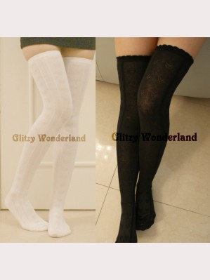 Heart black or white lolita socks
