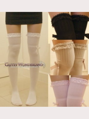 Lace Trim Classic or Sweet Lolita Style Over Knee Socks Otks
