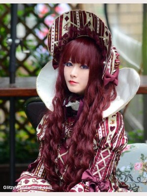 Burgundy Gothic Lolita Curly Hair Wig